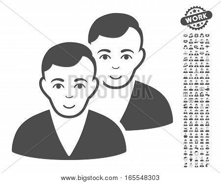 Users pictograph with bonus human symbols. Vector illustration style is flat iconic gray symbols on white background.