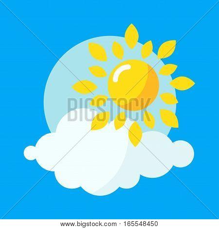 Sun icon weather vector illustration. Yellow graphic sunbeam hot light element. Nature solar abstract shine silhouette. Creative ray art season object.