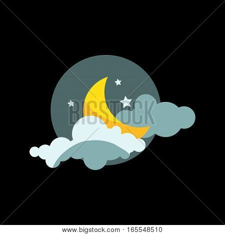 Weather icon vector illustration. Season thermometer design thunder temperature sign. Meteorology night sky nature element for web application.