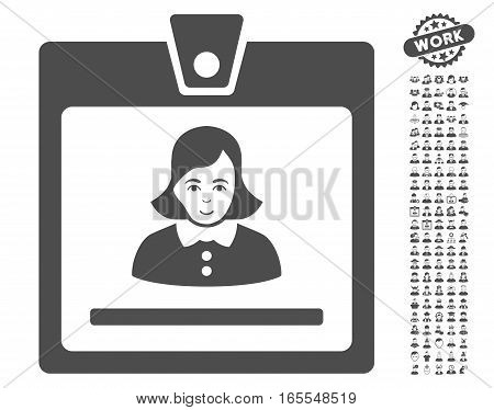 Woman Badge icon with bonus occupation pictures. Vector illustration style is flat iconic gray symbols on white background.