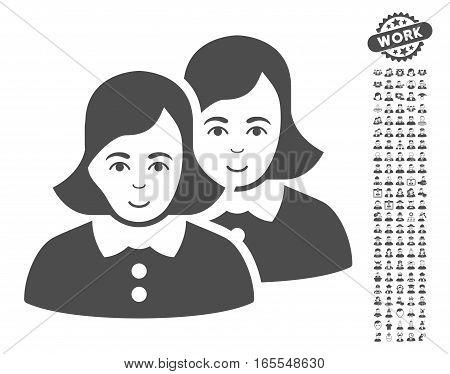 Women icon with bonus avatar design elements. Vector illustration style is flat iconic gray symbols on white background.