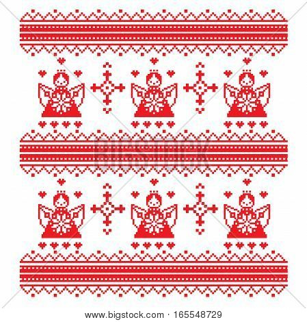 ethnic cross-stitch ornament angel and decorative ornaments in red and white Vector illustration. From collection of Balto-Slavic ornaments. style Valentine s Day. Angels and hearts.