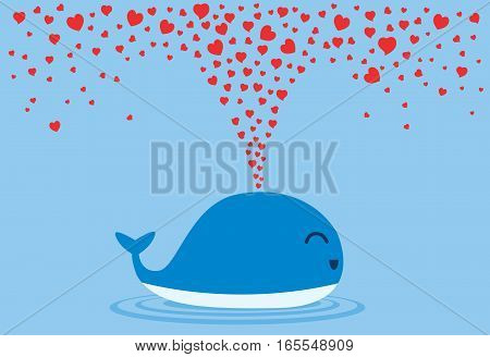 Whales spraying many heart out of their blowholes. Illustration about love and Valentine day.