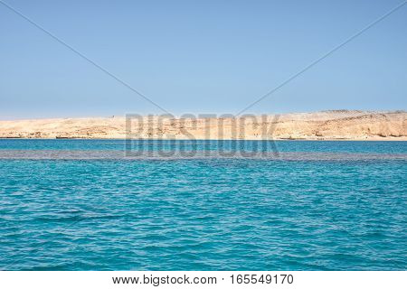 Tiran island Egypt view from Red sea can be background