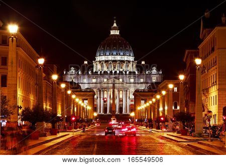 Rome. Italy. Night view of the cityscape of the Vatican St. Peter's Cathedral