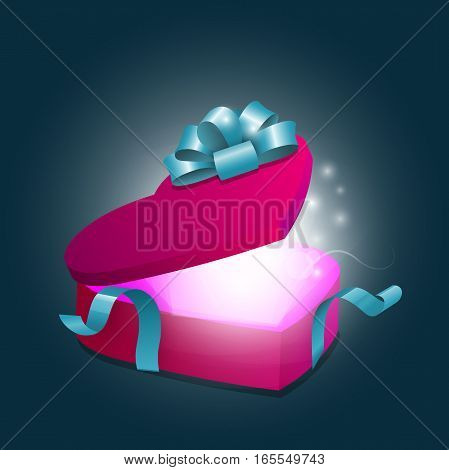 realistic Box as heart with a magical glow. Heart gift present with fly hearts and blue ribbon and bow vector illustration for design