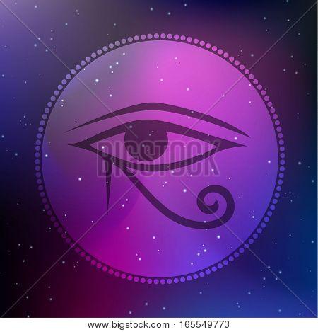 Vector Horus Eye Illustration on a Cosmic Bacground