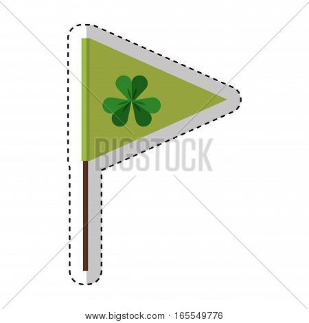 flag with Saint patricks clover icon vector illustration design