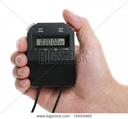 Hand holding a digital stop watch ready to start timing