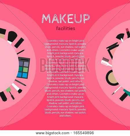 Cosmetics make-up on bright pink background: mascara, lipstick, powder, blush, pencils, eye shadow, nail polish, brush and others