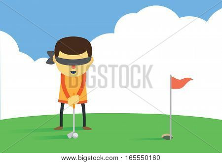 Man will putting a golf ball into hole with eye closed. Illustration about business target concept.