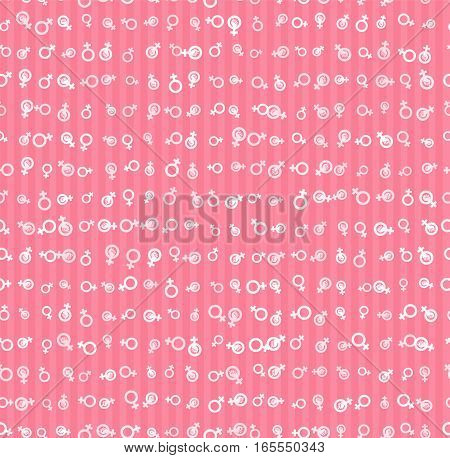 Vector Pattern 60s. Seamless Background Inspired Second Wave Feminism In 1960s