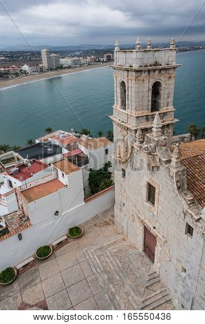 Panoramic view of the church bell tower from the castle in Peniscola, Castellon Spain. Church of the Virgin of the Hermit