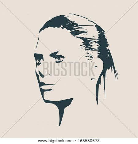 Face profile view. Elegant silhouette of a female head. Vector Illustration. Ponytail hair style. Monochrome gamma