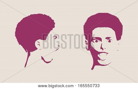 Human emotions expression vector illustration. Isolated avatar of the expressions face. Emotional head illustration. Shout of despair. Face profile and front views