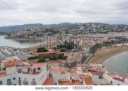 Panoramic view of the village from the castle the two beaches in Peniscola, Castellon Spain