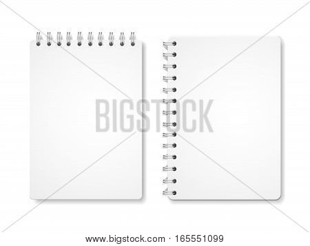 Paper blank notebooks, spiral notepads office equipment isolated on white vector illustration.