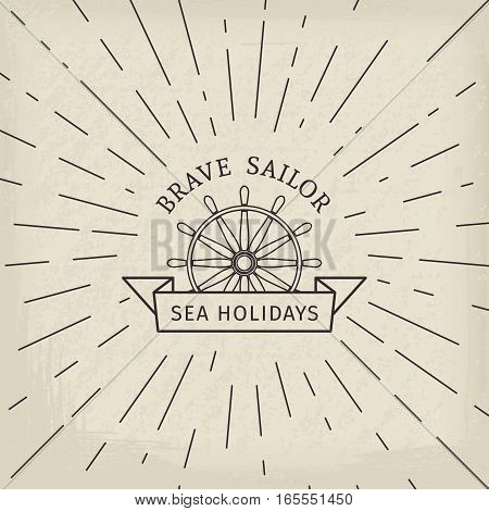 Retro nautical lineart label. Vector template for logo design of travel agencies, tourist offices, boat rental or cruise.
