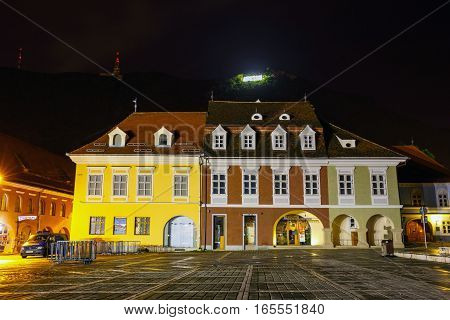 Brasov, Romania - July 19: Night View Of Council Square On July 15, 2014 In Brasov, Romania. Brasov