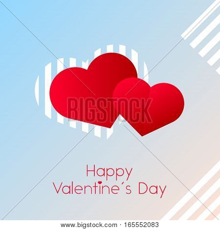 two Red heart, love, Valentines day hearts with text on light pink and background with white abstract lines