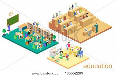 Isometric Interior Kindergarten, School, University Auditorium. Education System.