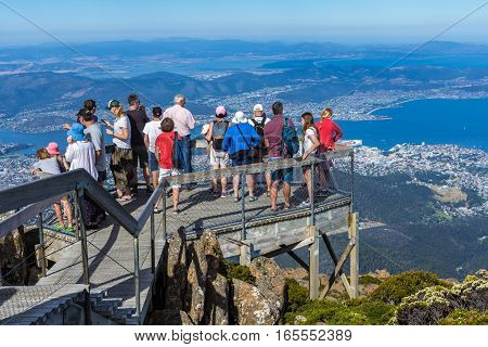 Hobart Australia - January 7 2016: tourist on Mount Wellington looking at Hobart city below