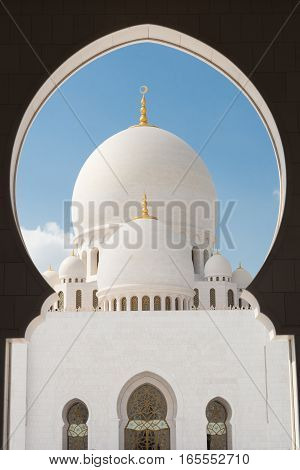 Sheikh Zayed Grand Mosque in Abu Dhabi, United Arab Emirates.