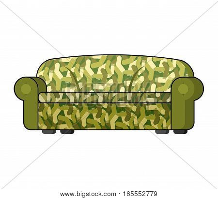 Camouflage Military Sofa. Army Soldier Couch Isolated. Illustration For 23 February. Traditional Gif