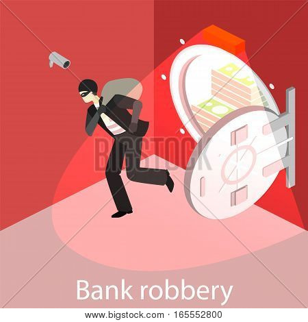 Thief Running Out Of A Bank Vaul.