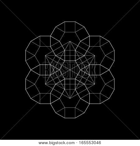 Harmonic in sacred geometry Plato. The ratio of hexagon. Stock vector illustration poster