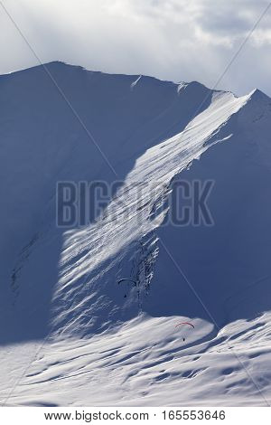 Speed Riding In Snow Mountains At Sun Evening
