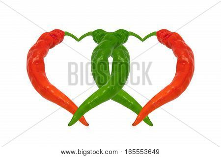 Red And Green Chili Peppers In Love. Hearts Composed Of Peppers.
