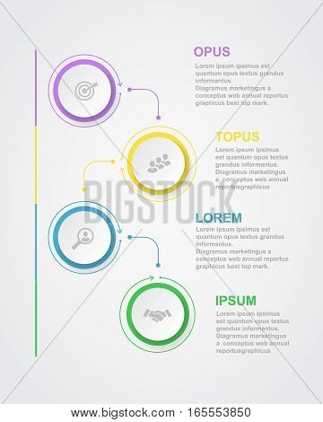 Abstract infographics number options template with 3D paper label, integrated circles. Business concept diagram, banner.
