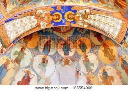 SUZDAL, RUSSIA - AUGUST 23, 2011: Interior of the Church of Transfiguration in the Monastery of Saint Euthymius.