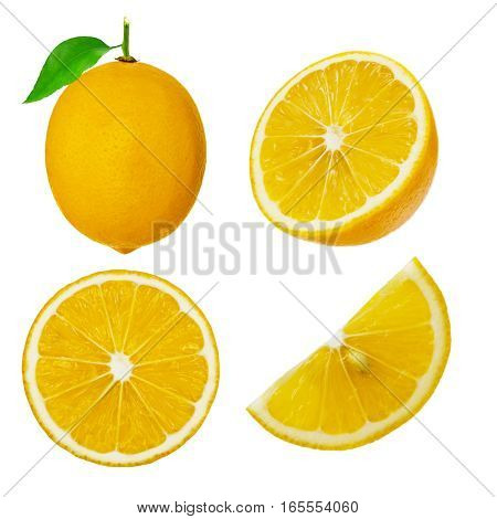 Collection of whole and cut lemon fruits isolated on white background