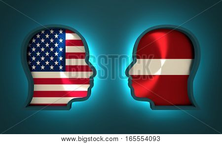 Image relative to politic and economic relationship between USA and Latvia. National flags inside the heads of the businessmen. Teamwork concept. 3D rendering. Neon light