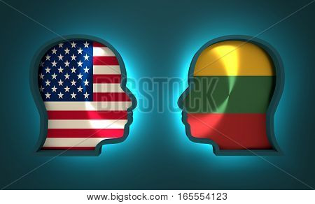 Image relative to politic and economic relationship between USA and Lithuania. National flags inside the heads of the businessmen. Teamwork concept. 3D rendering. Neon light
