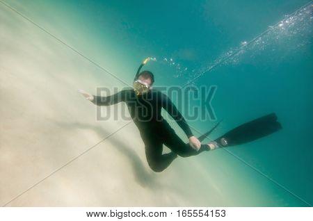 Free diver hovering over ocean floor. green backround