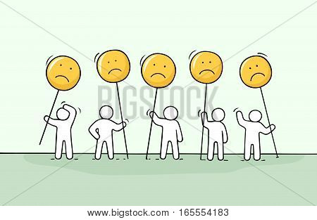 Crowd of working little people with sad sings. Doodle cute miniature about communication. Hand drawn cartoon vector illustration for chat and web design.