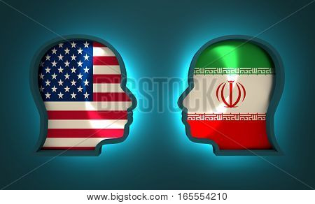 Image relative to politic and economic relationship between USA and Iran. National flags inside the heads of the businessmen. Teamwork concept. 3D rendering. Neon light