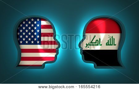 Image relative to politic and economic relationship between USA and Iraq. National flags inside the heads of the businessmen. Teamwork concept. 3D rendering. Neon light