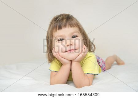 Smiling Happy Little Girl Portrait With Cute Cheeks Isolated