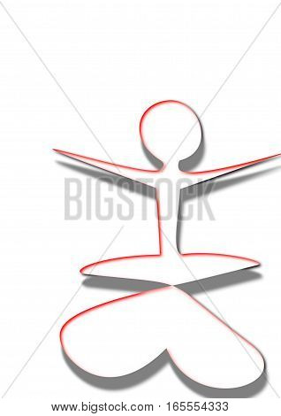 Woman practicing yoga,has an expanded arms and legs crossed