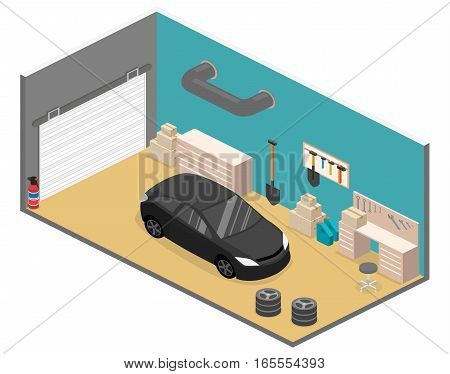 Isometric Flat 3D Vector Interior Working Place In Garage.