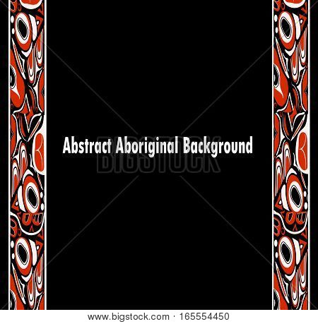 Vector illustration abstract red background native north american on black
