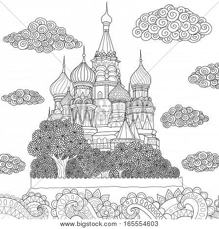 Beautiful abstract Moscow cathedral on island and floral wavy ocean for coloring book pages. Stock Vector