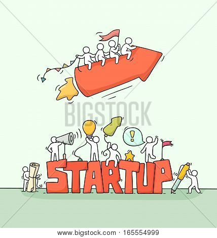 Sketch of working little people with fly arrow word Startup. Doodle cute miniature scene of workers. Hand drawn cartoon vector illustration for business design and infographic.