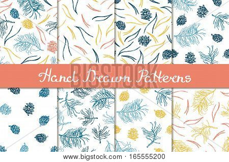 Merry Christmas! Set of seamless patterns with natural elements. The branches, pine cones, pine needles. Hand drawn. Vector illustration.