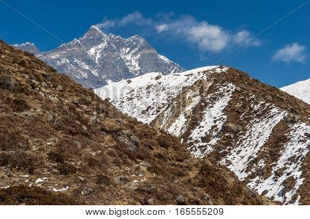 Lothse And Lothse Shar Peaks In The Himalayan Range, In Nepal