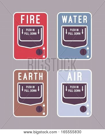 Set of four basic nature elememts, main concepts and attributes of Ancient Greece earth, water, air, fire stylized for fire alarm system, for t-shirt design
